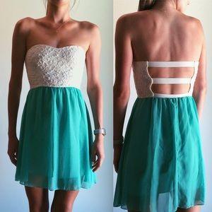 Dresses & Skirts - Tiffany Blue & White Lace Strapless Dress